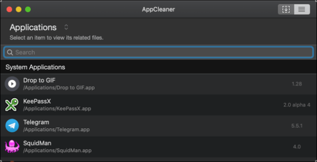 List of applications in AppCleaner on a Mac.