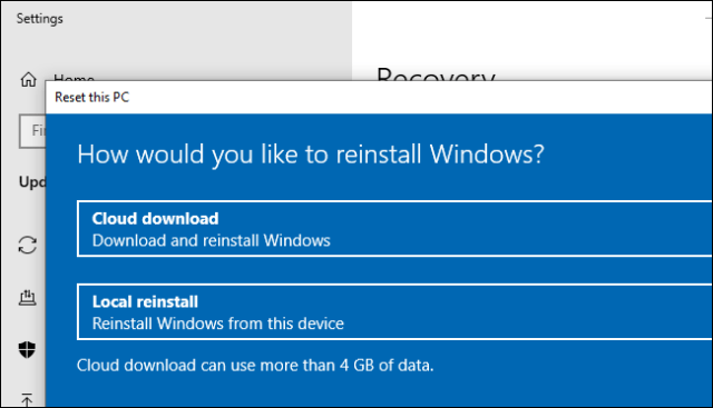 The cloud download option to reset (or reinstall) Windows 10.