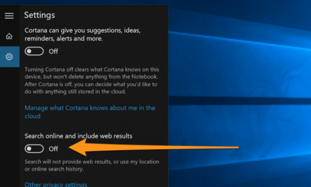 The option to turn off web search results in the original version of Windows 10