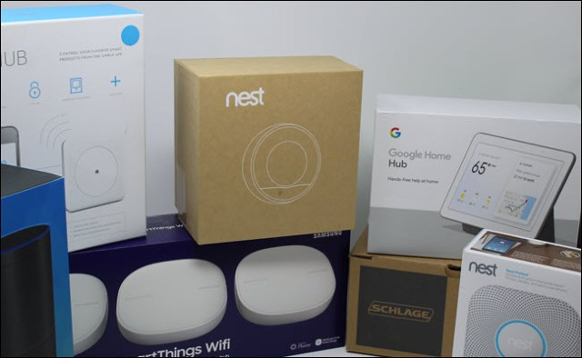 A Nest Thermostat, Google Home Bub, Nest Protect, Schlage Smart Lock, Wink Hub, SmartThings Wifi Hub and Amazon Echo.