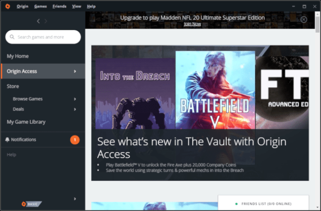 The safe of the Origin Access game from EA.