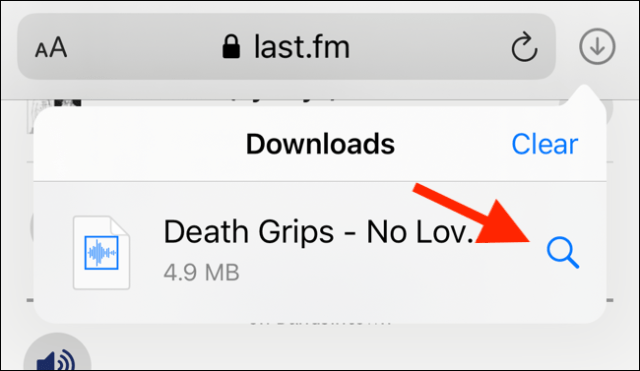 Press the search button to open the downloaded file in the Files application