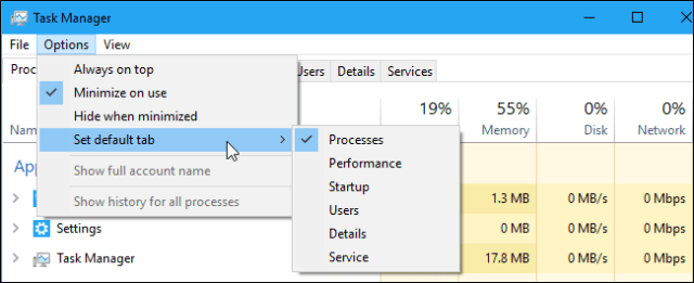 The menu of the Set As Default tab in the Windows 10 Task Manager