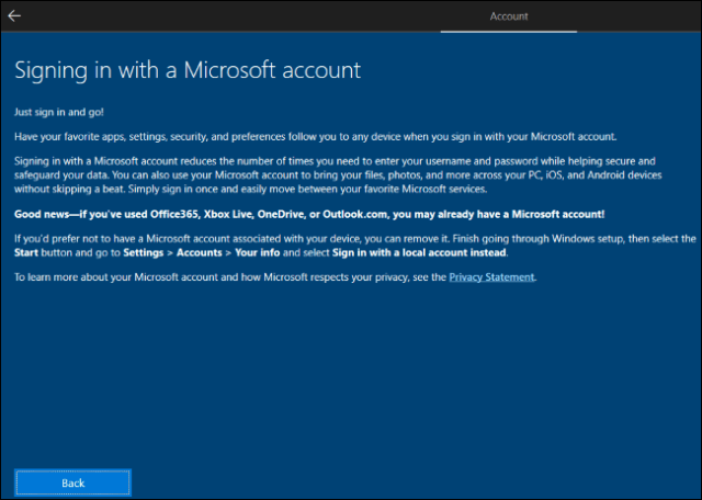 Windows 10 explains that you need to create a Microsoft account and then delete it.