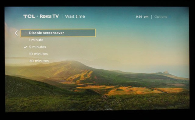 Roku screen saver time settings dialog, with 5 minutes selected.