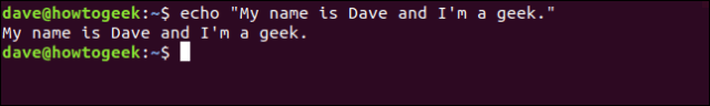"echo ""My name is Dave and I am a geek."" in a terminal window"