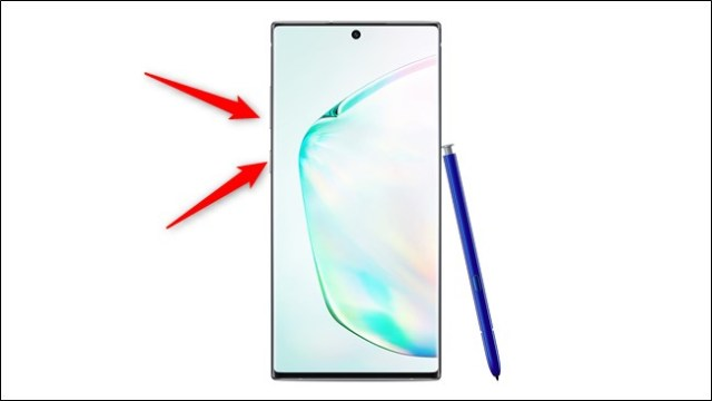 Samsung Galaxy Note 10 and 10 Plus Press the power and volume down buttons