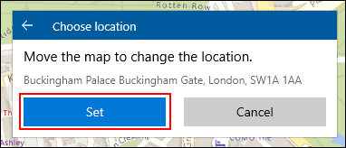 When creating a Windows 10 map collections location, manually position your location, then click Set