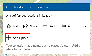 To add a location to a Windows 10 map collection, click the collection, then click Add Location