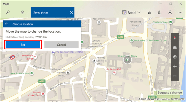 Manually select your preferred location, then click Set