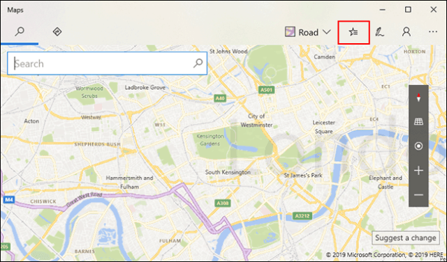 In Windows 10 Maps, click the Saved Places icon at the top right
