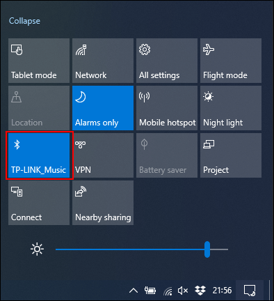 Click on the Bluetooth tile to activate or deactivate it.