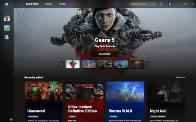 Xbox Game Pass with the game Gears 5.