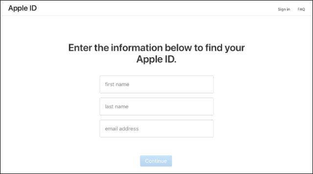 The entry page on iforgot.apple.com.