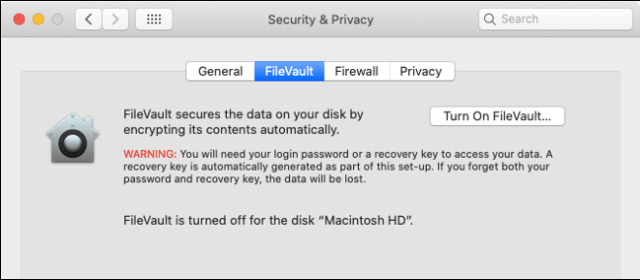 Activate Filevault on macOS