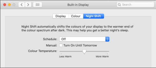 Activate Night Shift in macOS