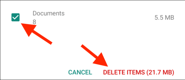 Tap Delete items after selecting the media type