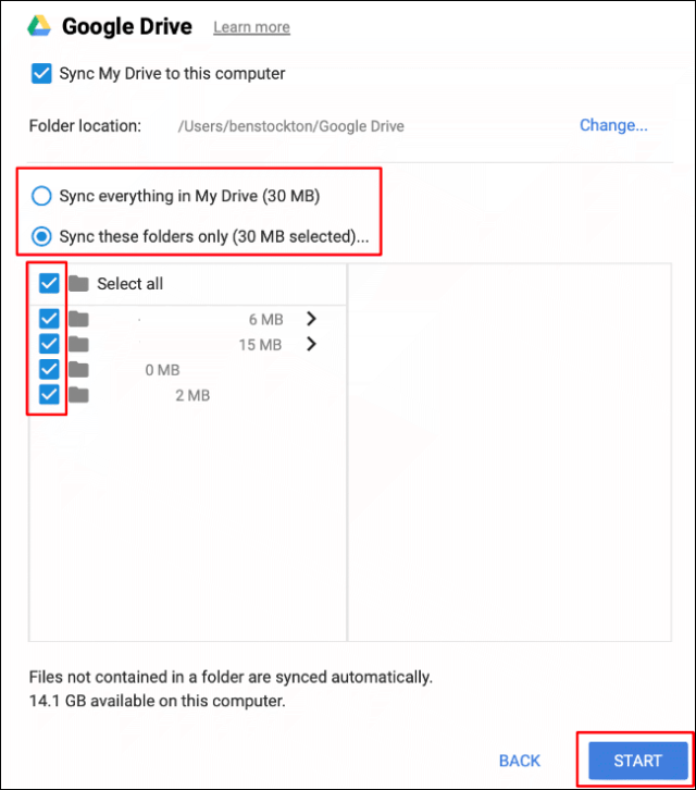Select your folder sync options, then click Start to start syncing files between your Google Drive storage and your Mac