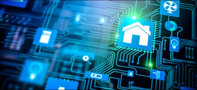 Smarthome home automation icon on motherboard, future concept of home remote control