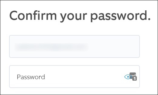 Ring website Confirm username and password. Click the Continue button.