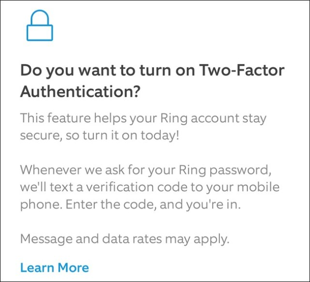 App Ring Read about 2FA, then click Activate two-factor button
