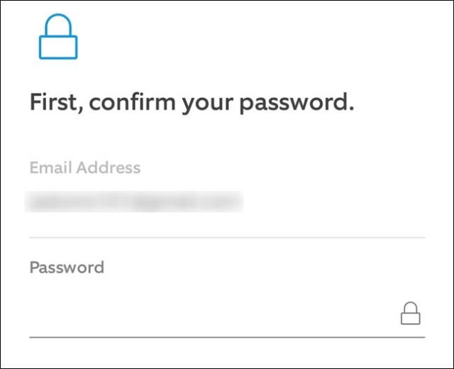 Ring App Enter your email and password, then click the Continue button.