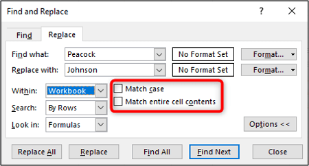 Match case and whole cell content options