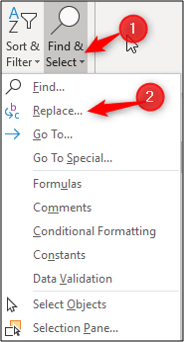Open Find and Replace dialog box