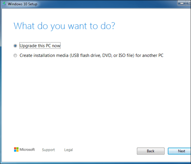 Using the Windows 10 Configuration Tool to upgrade a Windows 7 system.