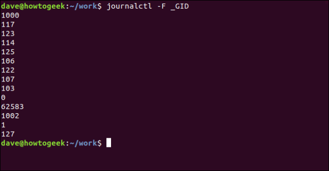journalctl -F _GID in a terminal window
