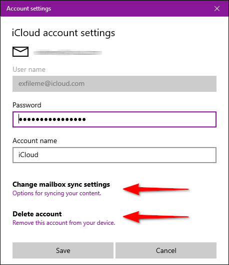 Windows Mail iCloud account settings