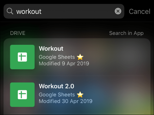 IOS system search results from indexed applications.