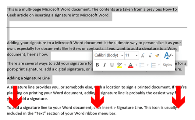 To manually select the content of a Microsoft Word page, place your document's cursor at the top of the page, then drag down