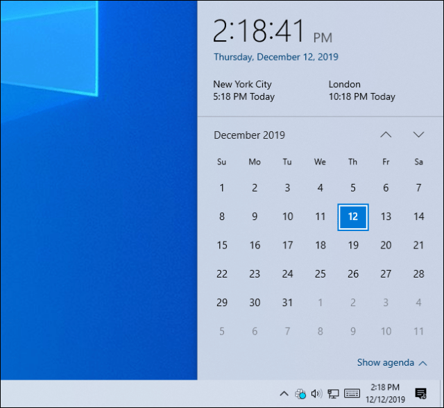 Windows 10 clock panel showing the time in three time zones.