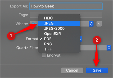 Export in JPEG format