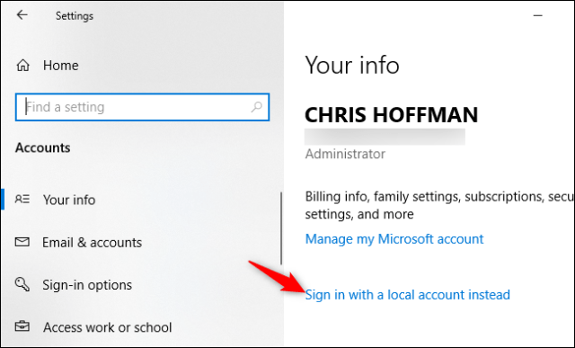 Converting a Microsoft account to a local account on Windows 10.