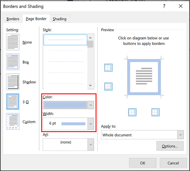 To change the width or color of the border in Microsoft Word, select the options from the Color and Width drop-down menus in the Page Border options menu.
