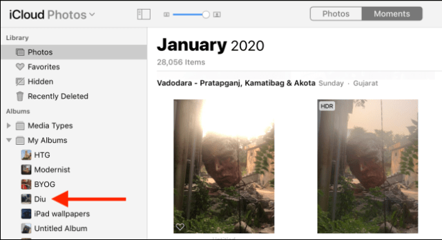 Click on an album in the sidebar.