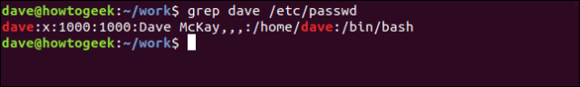 grep dave / etc / password in a terminal widnow