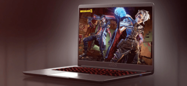An AMD brand laptop on a purple background with a Borderlands 3 promotional image on the laptop screen.