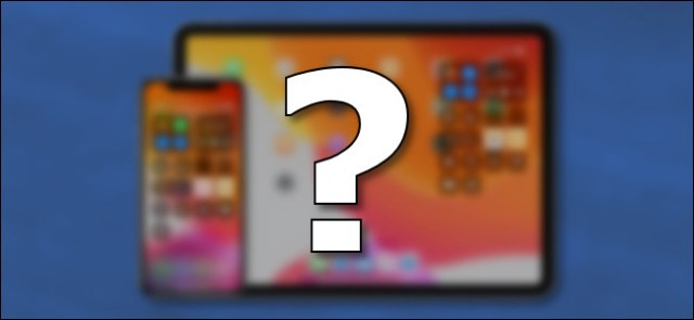 A question mark in front of an iPhone and an iPad.