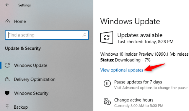 Display optional updates on the Windows Update Settings screen.