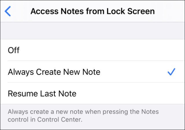 Access notes from lock screen settings in iOS