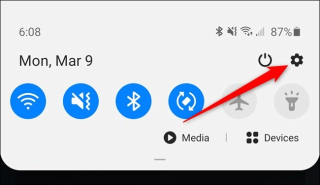 Samsung Galaxy S20 Tap the Gear Settings icon