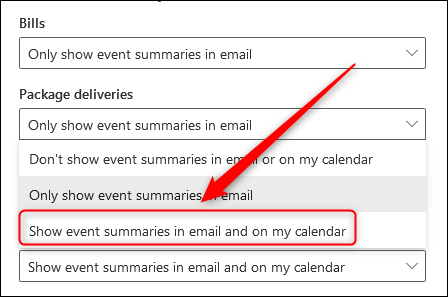 The drop-down menu displaying the various options for summarizing events.