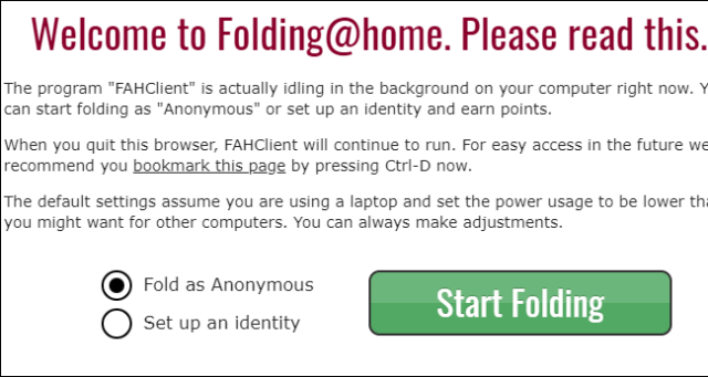 Choice of anonymity or identity in Folding @ home