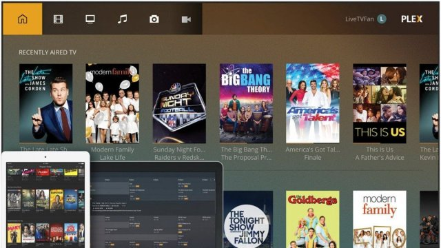 The Plex Live TV interface, with several programs available.