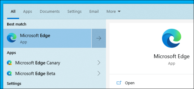 The new Microsoft Edge based on Chromium opens in the Start menu.
