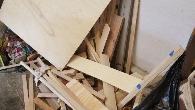 A giant pile of disorganized wood in a nightmarish pile.