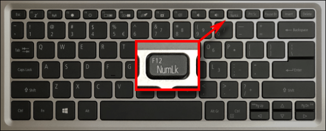 An example of a laptop numlock key